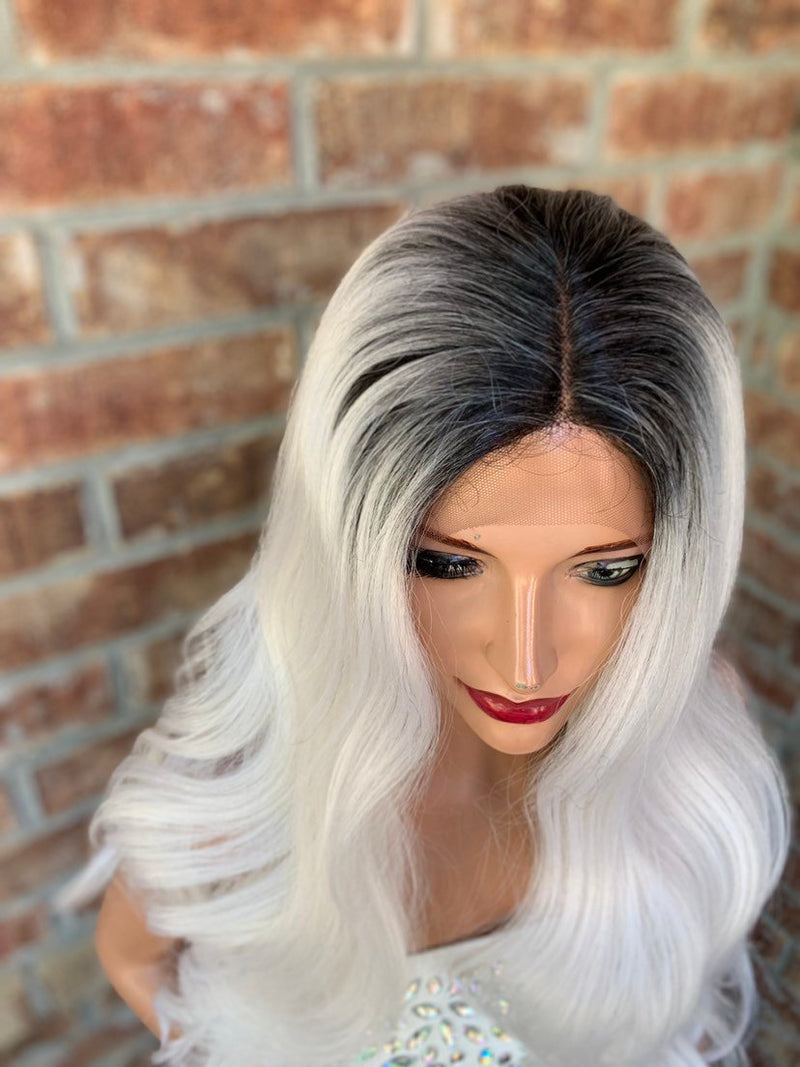Silver Gray Ombre' Hair Wig | Middle Parting | New Levels 0519