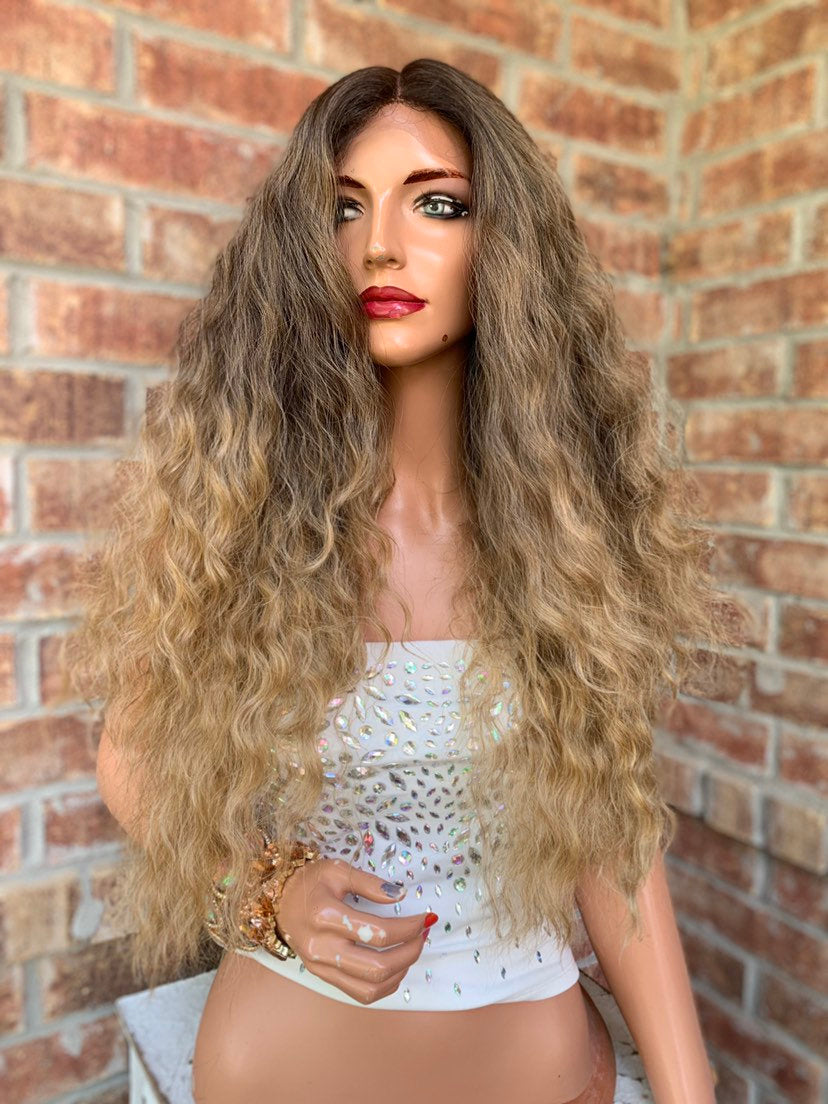 "Blonde Ombré Hair SWISS Lace Front Wig 26""  Lady Marmalade 0519"