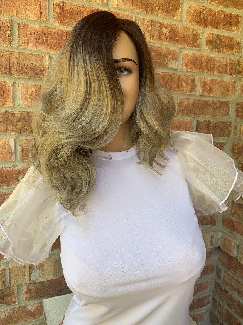 Gray Ombré Lace Hair Wig | Invisible Side Parting | Bugatti 0519
