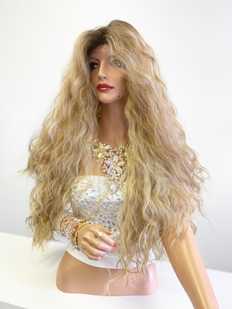 Balayage Ombré Honey Brown Blonde SWISS Lace Front Wig 30"