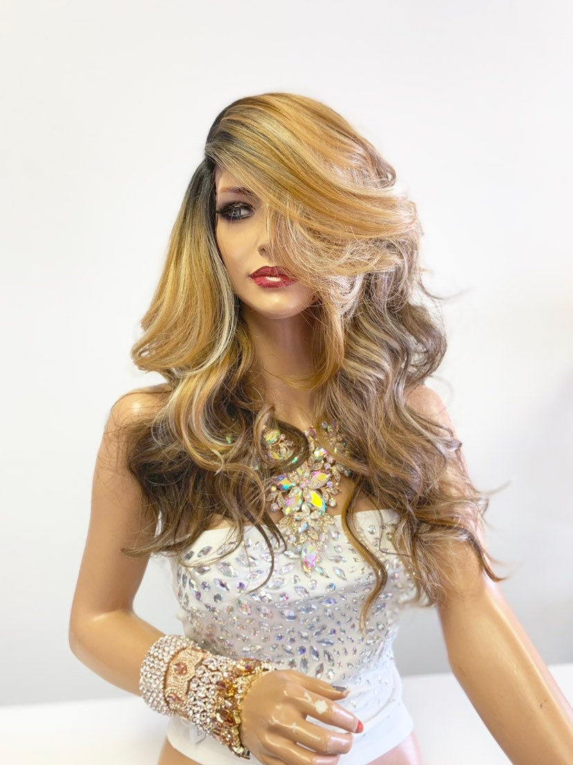 Balayage Ombré Honey Brown Blonde SWISS Lace Front Wig 22""
