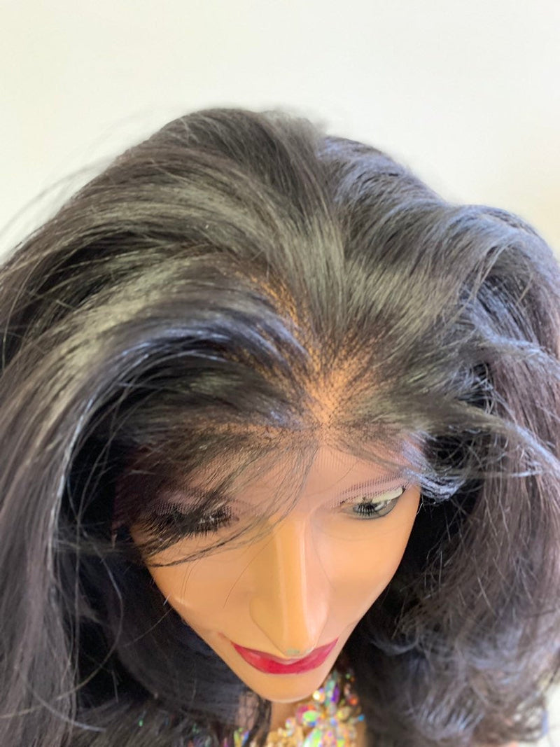 "Dark Brown SWISS Lace Front Wig 22"" + 4x4 multi parting 0619"