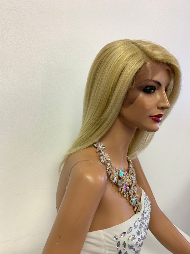 "Blonde Balayage SWISS Lace Front Wig 10"" with side part 619"