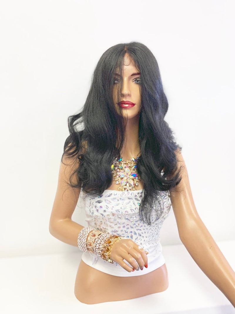 "Black SWISS Lace Frontal Wig 16"" with deep 360' free parting 619"