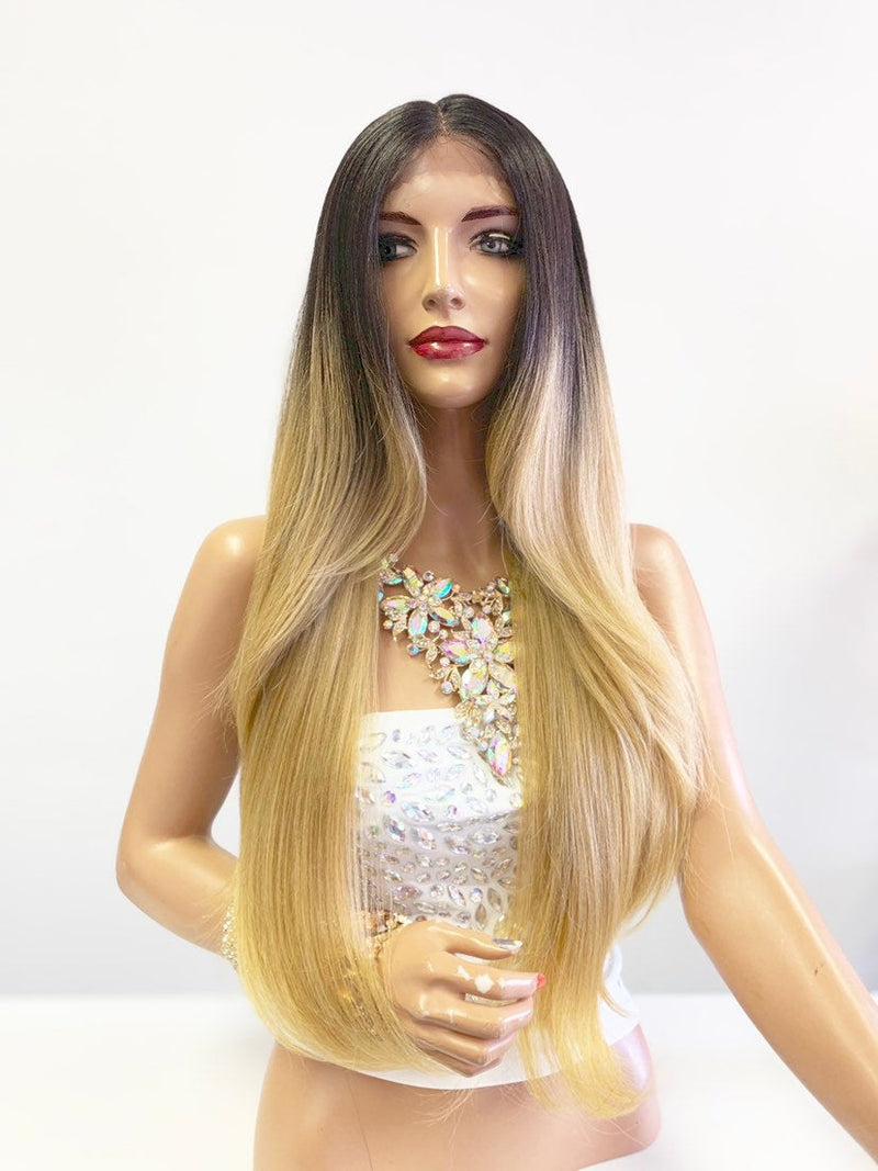 "Balayage Blonde Ombré SWISS Lace Front Wig 26"" 0619"
