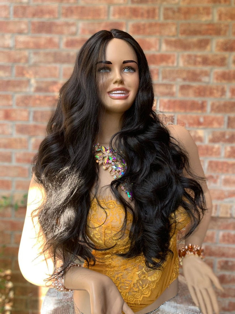 Dark Brown Hair Middle Part with Curls Lace Front Wig 819 ALAIA