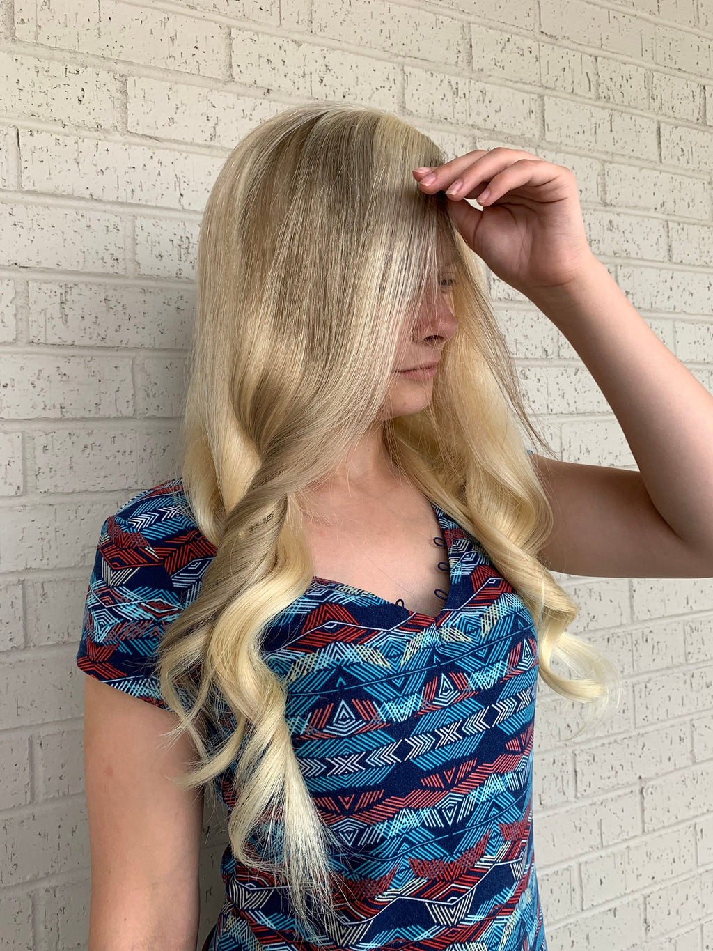 Balayage champagne blonde HUMAN HAIR full lace wig 22""