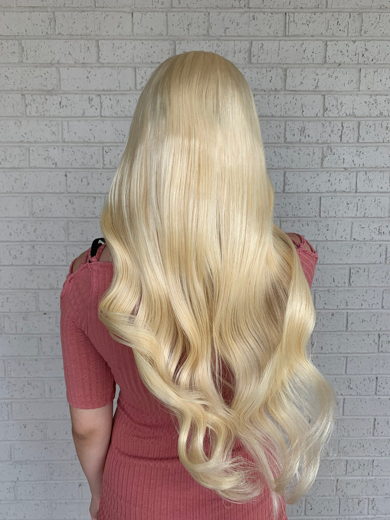 "Platinum Blonde Human Hair 13x4  FULL LACE multi parting wig 22"" long"
