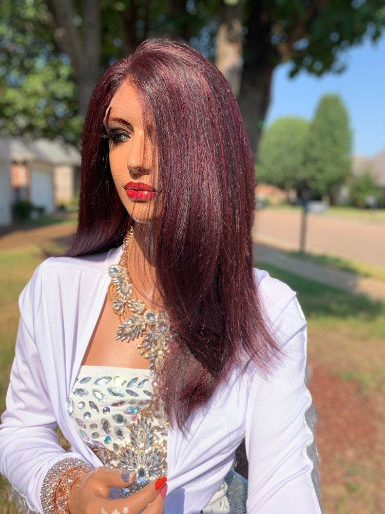 Red Hair Full Lace Wig, Volume Straight Hair 919 11