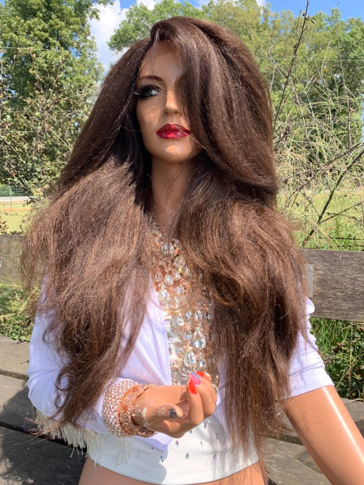 Brown Hair Lace Wig, Volume Thick Hair Style 919 16 GODDESS