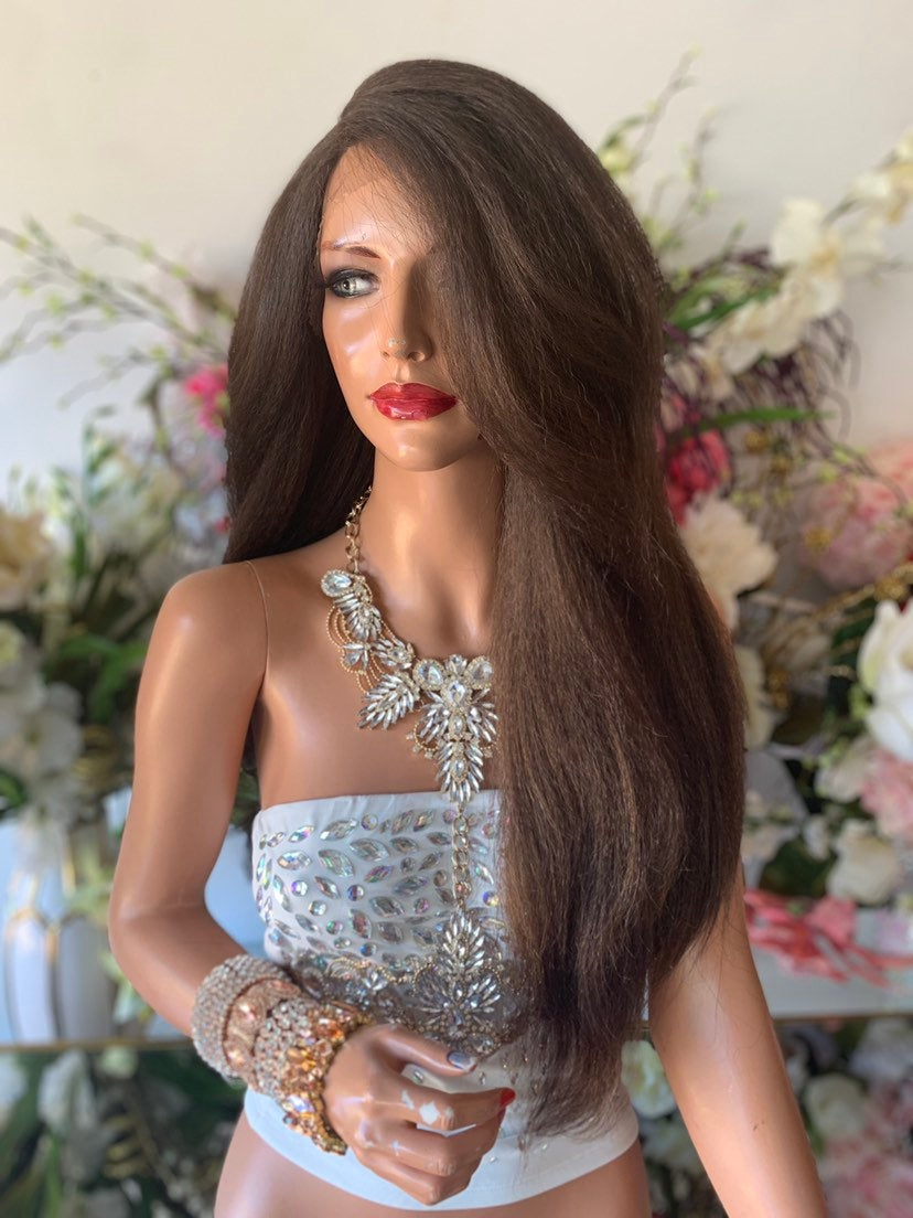 "Brown Thick Hair Lace Front Wig 24""  719"