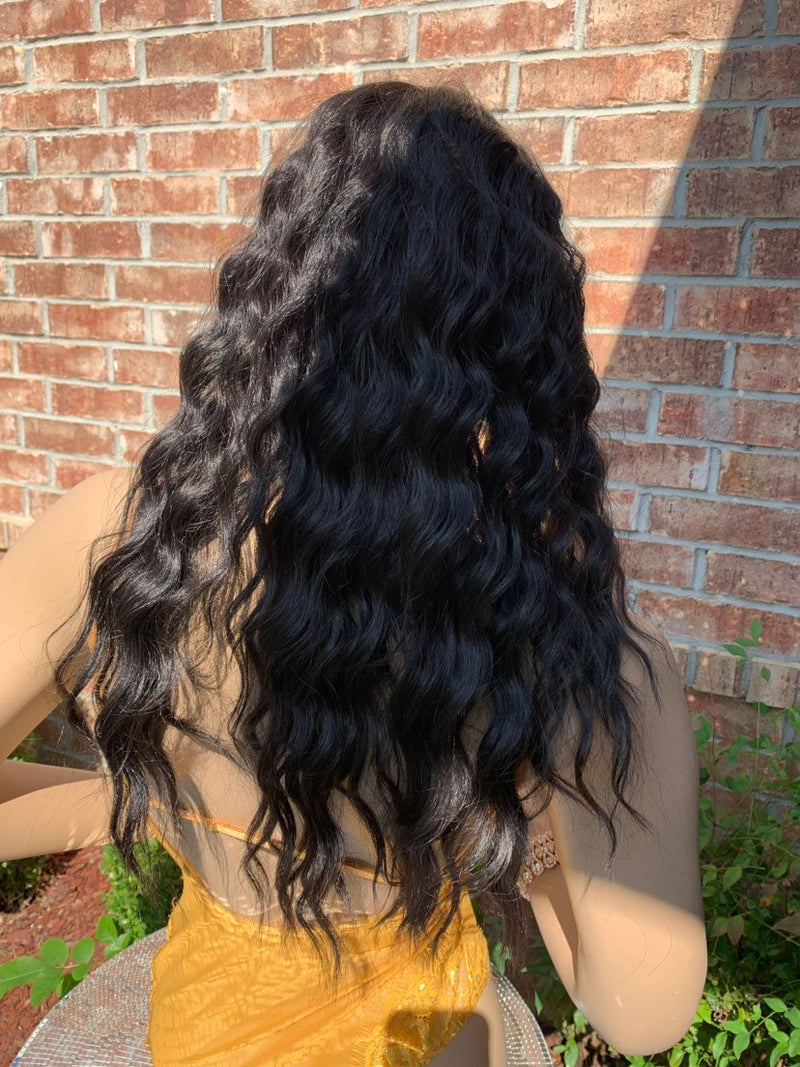Dark Brown Hair Middle Part Waves Lace Front Wig 819 *CADENCE*