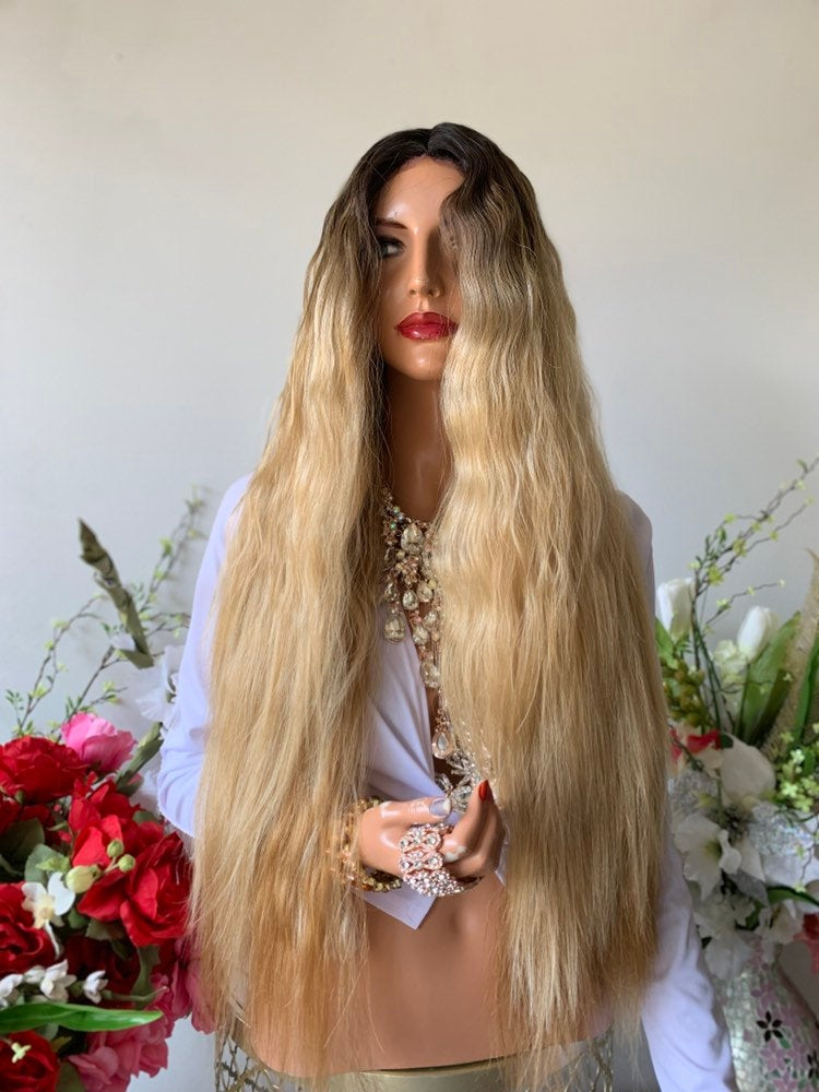 "OLIVIA BROWN BALAYAGE Hair Lace Wig 26""  Beautiful Ombre Color Soft Malibu Beach Waves 1019 35"