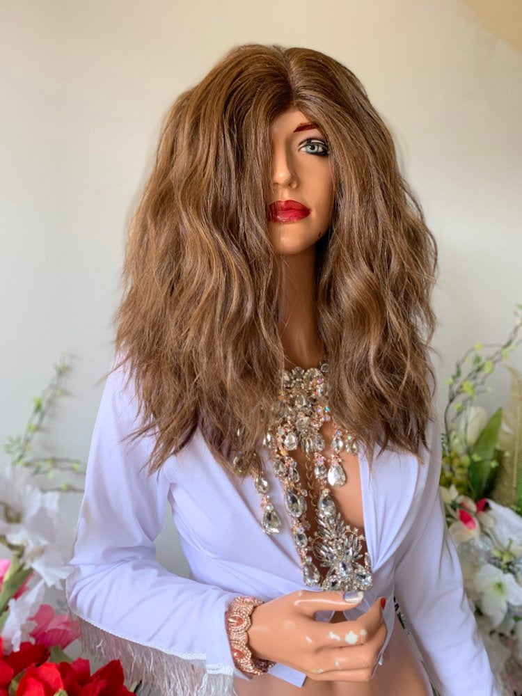 "HOLLIANNE BROWN BALAYAGE Hair Lace Wig 12"" Luxurious Layered Wavy Hair 1019 39"