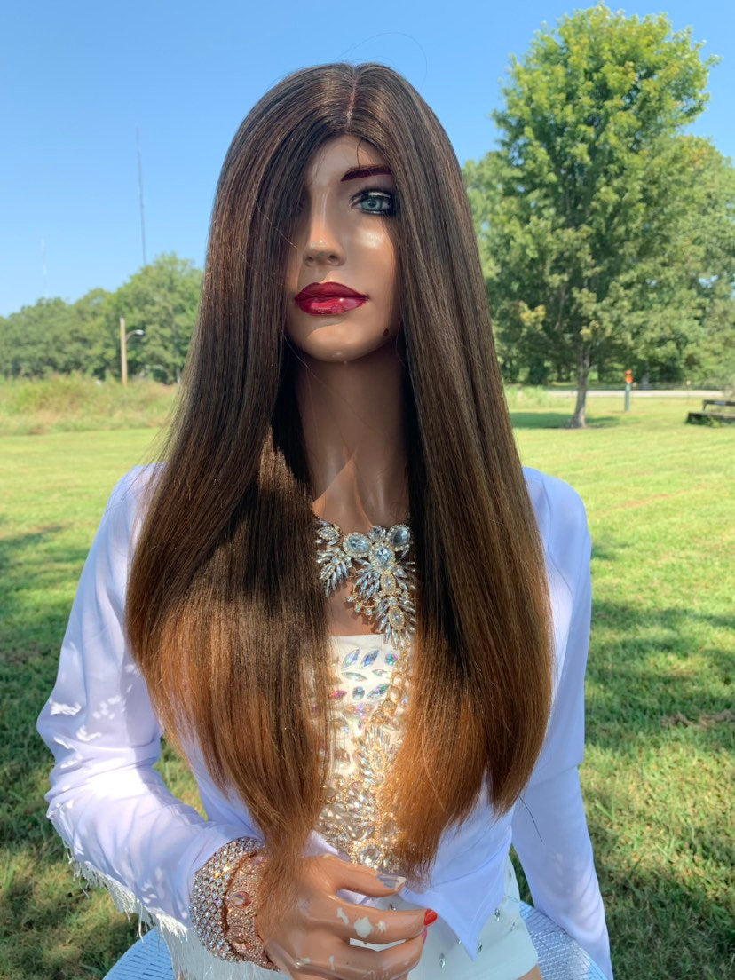 Lisette Natural Hair Wig, Brown to Light Blonde Tips