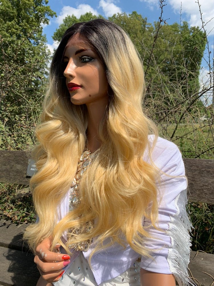 Blonde Ombré Hair Lace Wig, Volume Waves Hair 919 12 VENUS