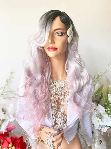 "PRISCILLANO PINK GRAY Ombré Hair Lace Wig 16""  Luxurious Pink Gray Layered Wavy Hair"