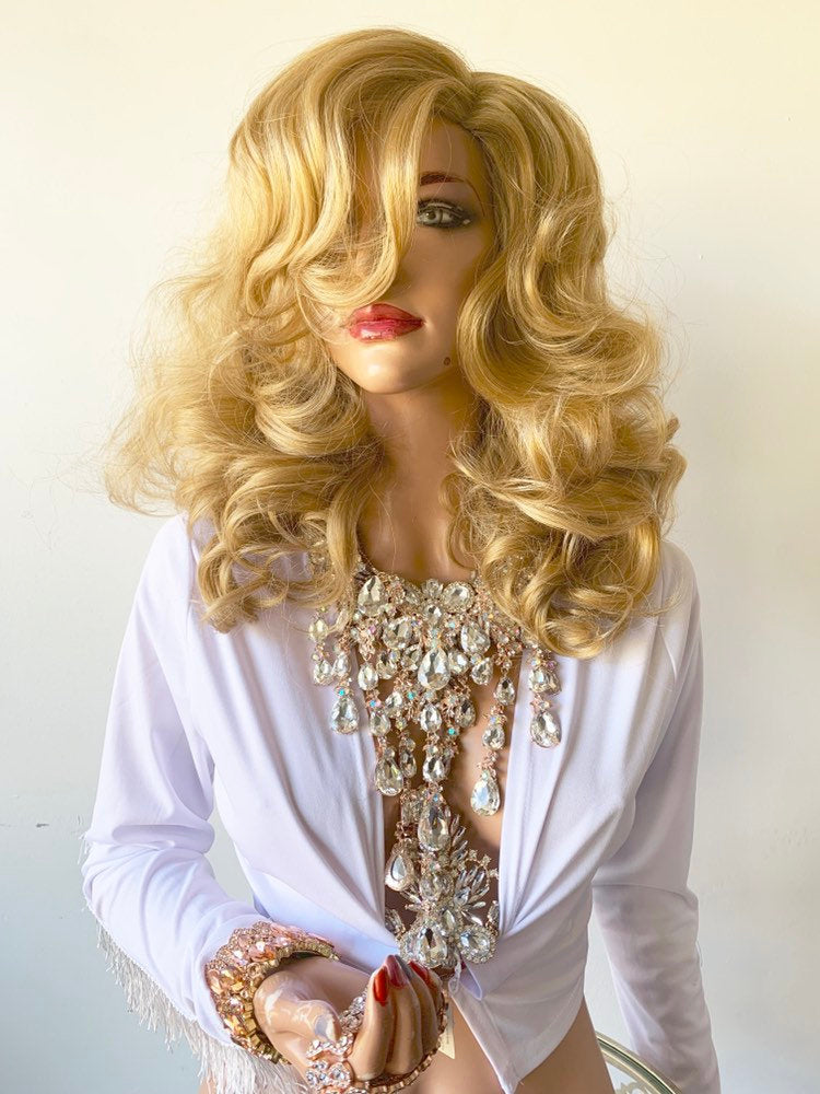 "CLAUDINE LIGHT BROWN Hair Lace Wig 12"" Luxurious Layered Curls Hairstyle 1019 43"