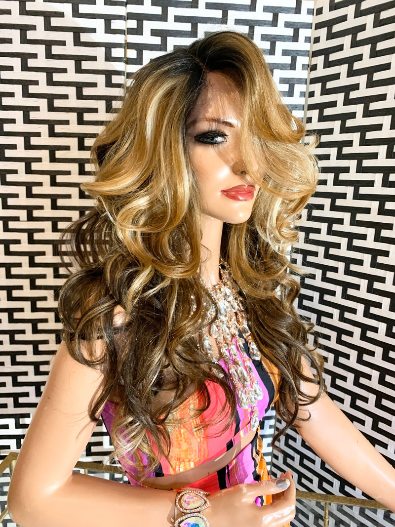 LIZZIE Medium brown blonde balayage 27/4/613 layered BANGS lace front wig in 18 inches *420