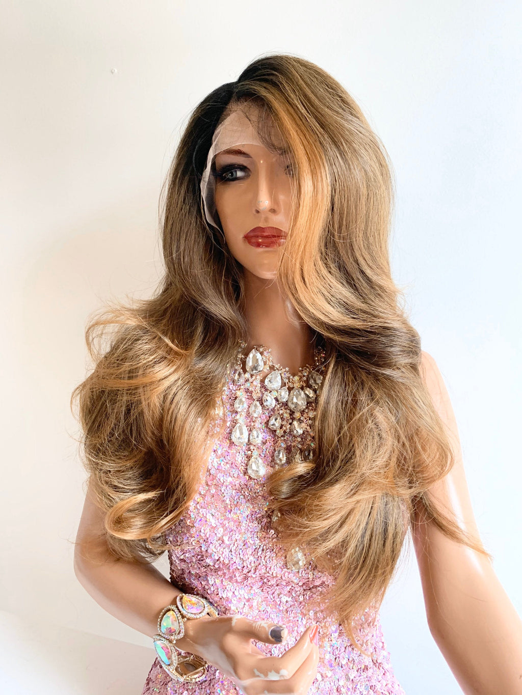 GABBY Medium ash brown to dark blonde Swiss lace front wig in 22 inches *420