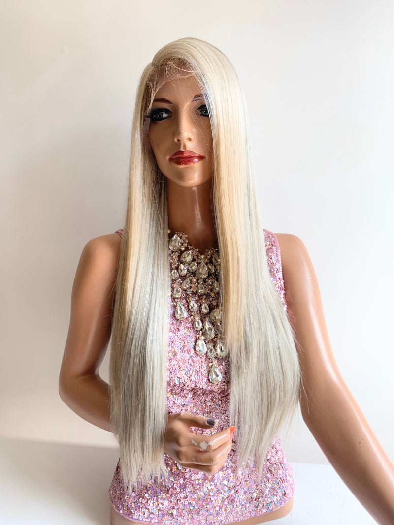 HALLE light blonde balayage lace front wig in 22 inches *420