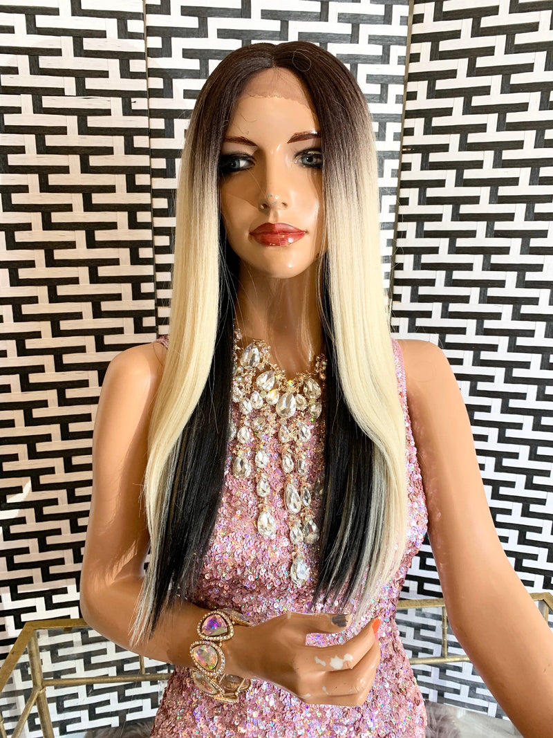 CADENCE Two tone ombré blonde to black Swiss lace front wig in 16 inches *420