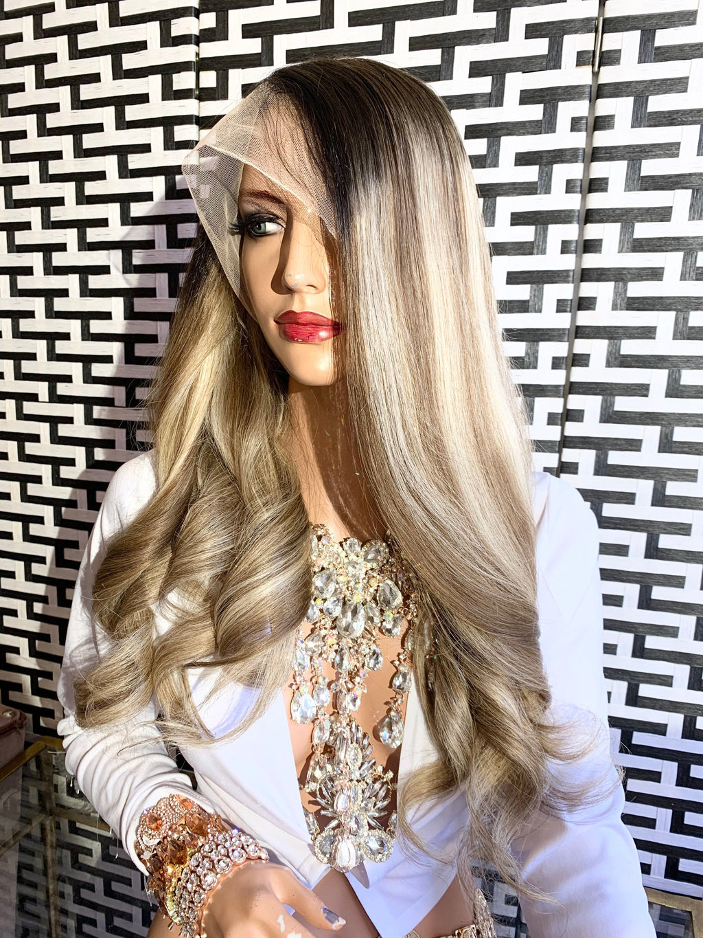 HUMAN HAIR Full lace Wig, Balayage blonde with root, Loose Curl hair, Virgin hair, 22 inches long