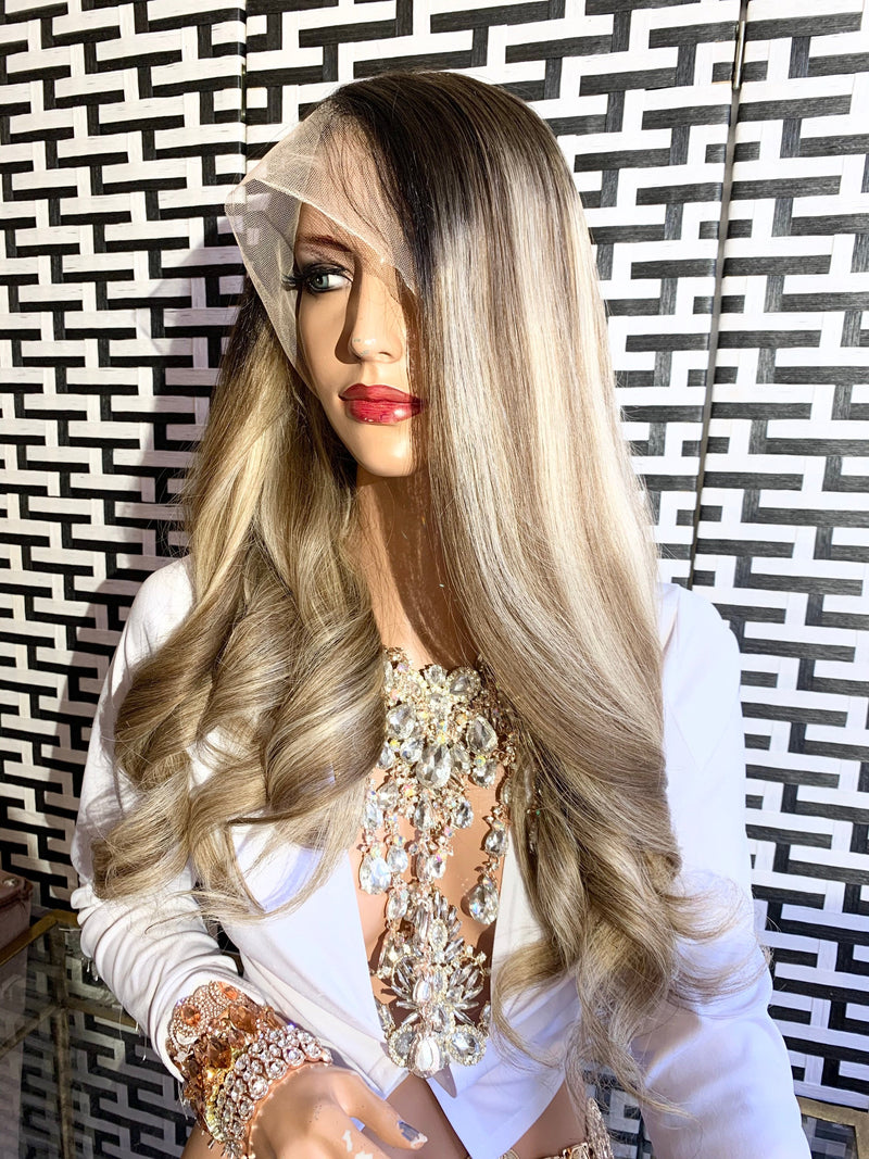 Full lace Wig, Balayage blonde with root, Loose Curl hair, Virgin hair, 22 inches long