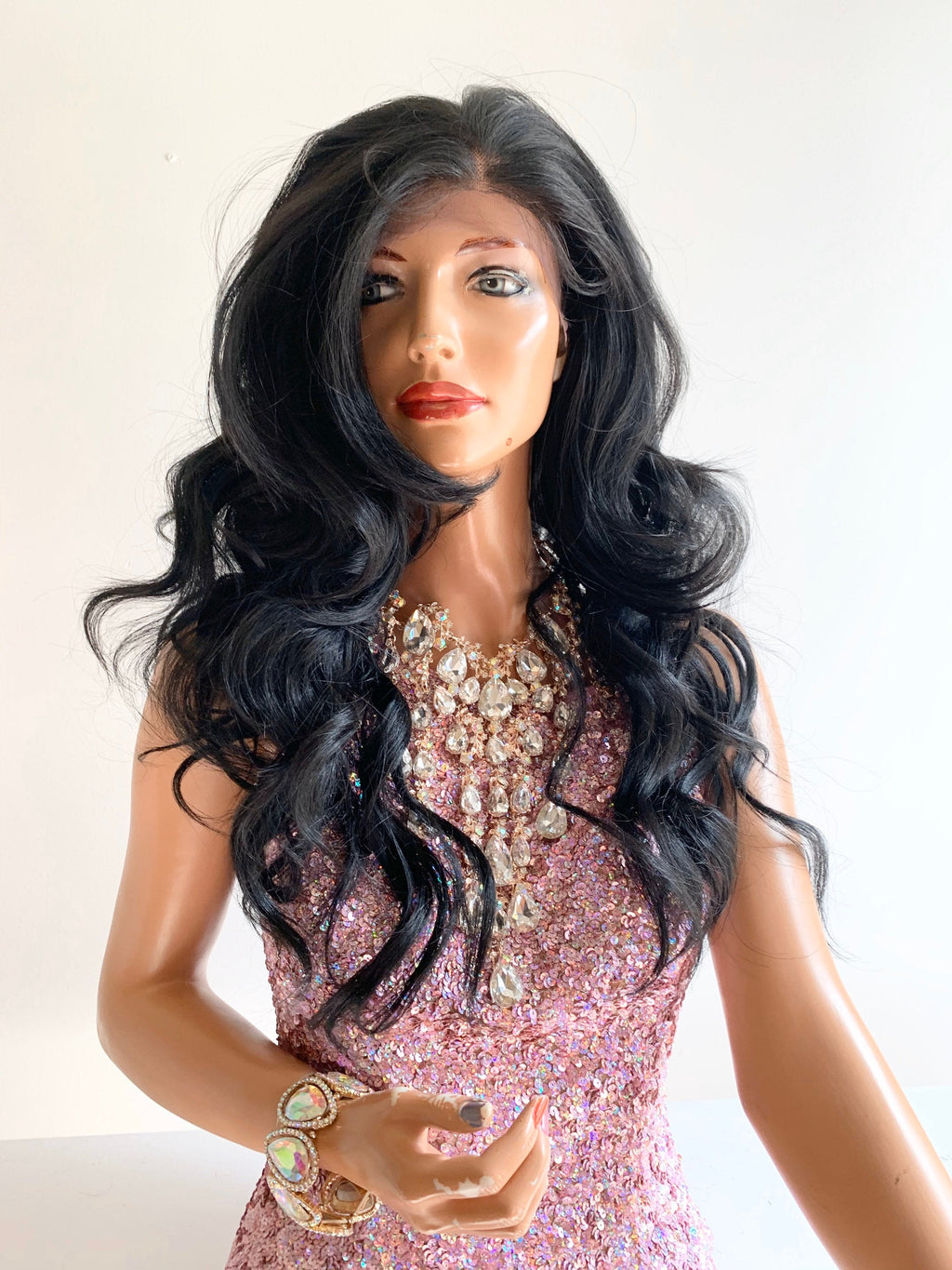 SAINT black 4x4 frontal Swiss lace front wig in 16 inches *420