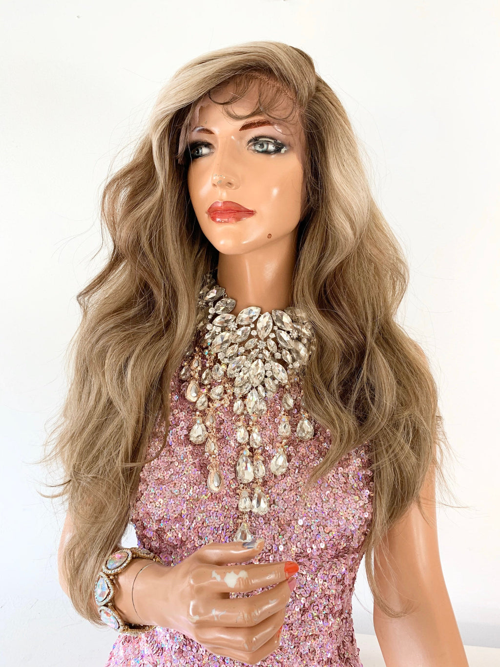 BLONDE BALAYAGE Lace Front Wig,  Loosely Curled Hair, 22 Inches Long