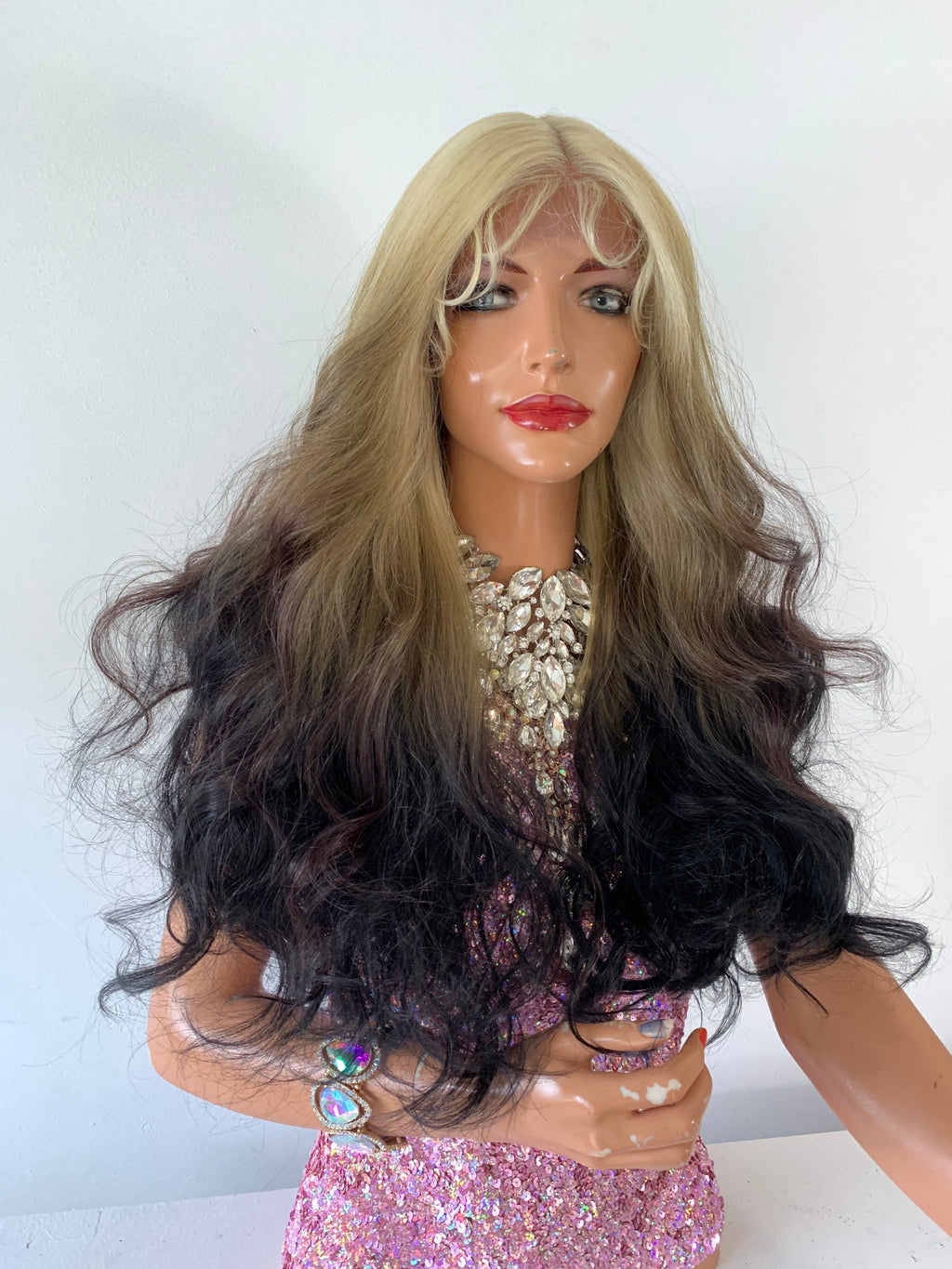 BLONDE BLACK OMBRÉ , Lace Front Wig,  Loosely Curled Hair, 22 Inches Long