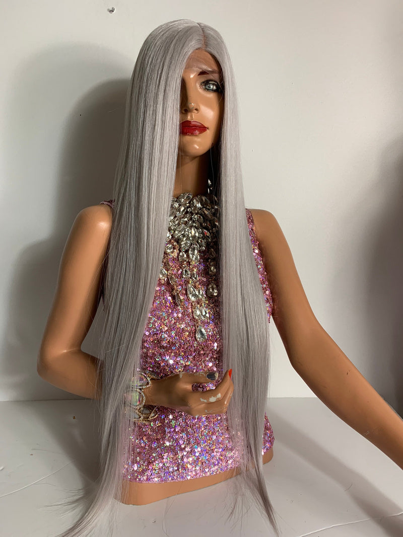 Silver Gray Hair Lace Front Wig, Straight Hair, 22 Inches Long 520