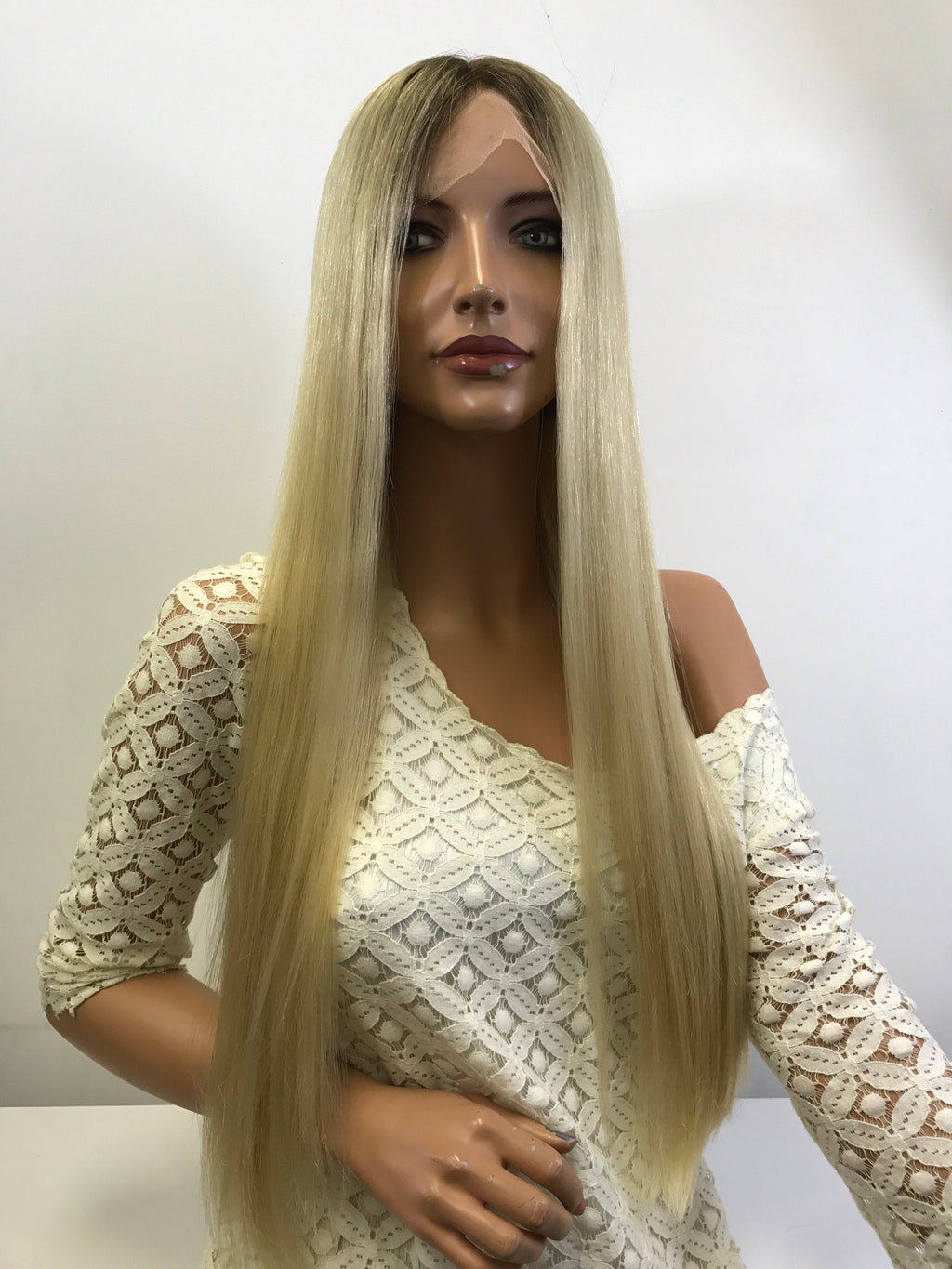 HUMAN HAIR Natural BLONDE ~ Full Lace Wig 26' Inches Long ~ 180% density