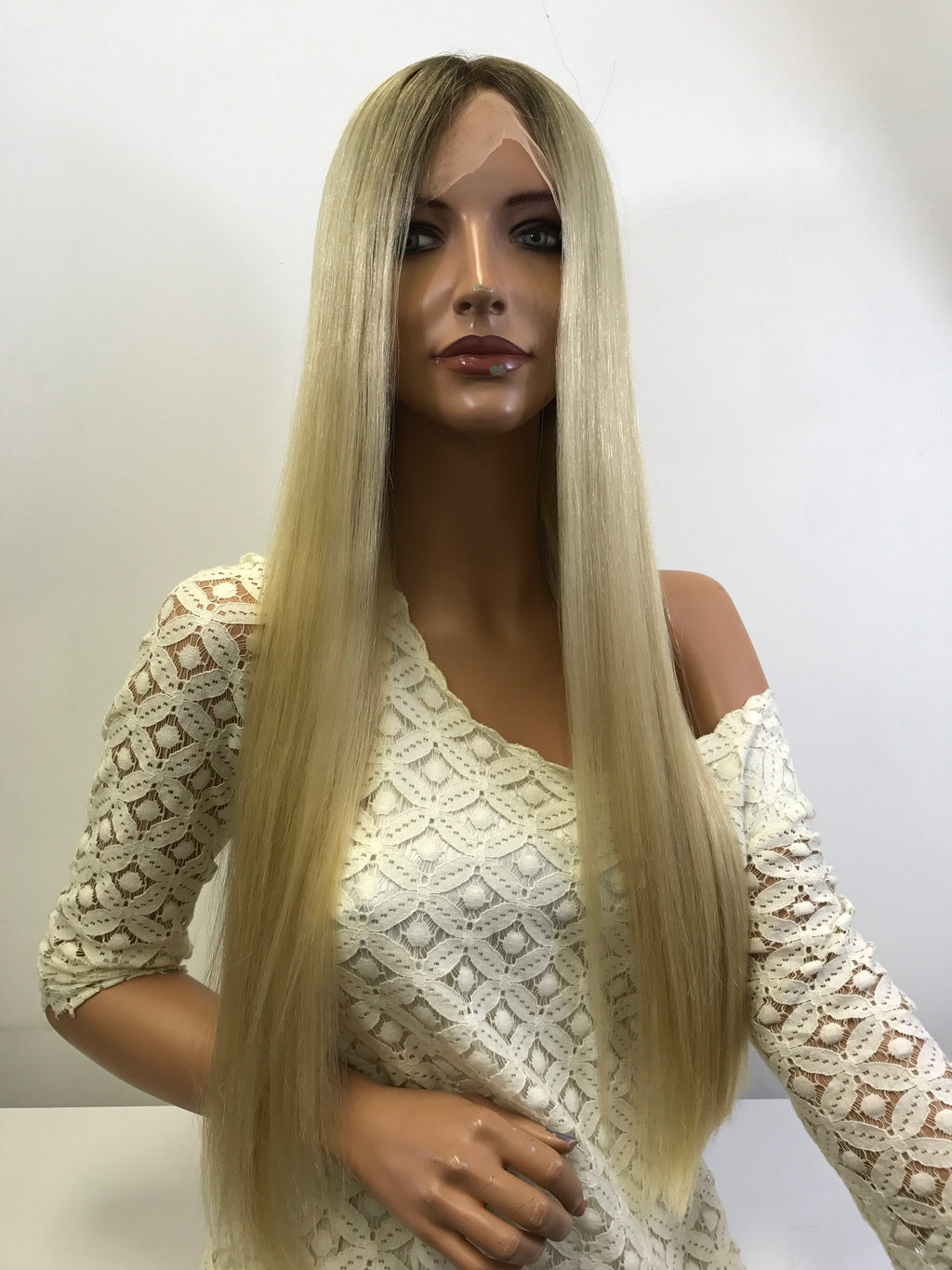 Natural BLONDE ROOTED ~ Full Lace Wig 26' Inches Long ~ 180% density