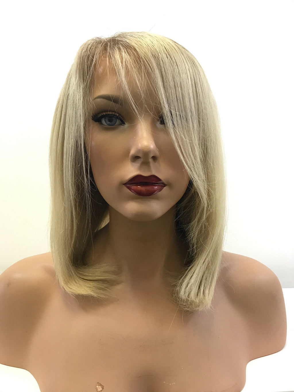 ASH BLOND BALAYAGE ~ Soft Brazilian Human Hair ~ Full Lace Wig @ 140% density & 10 Inches Long