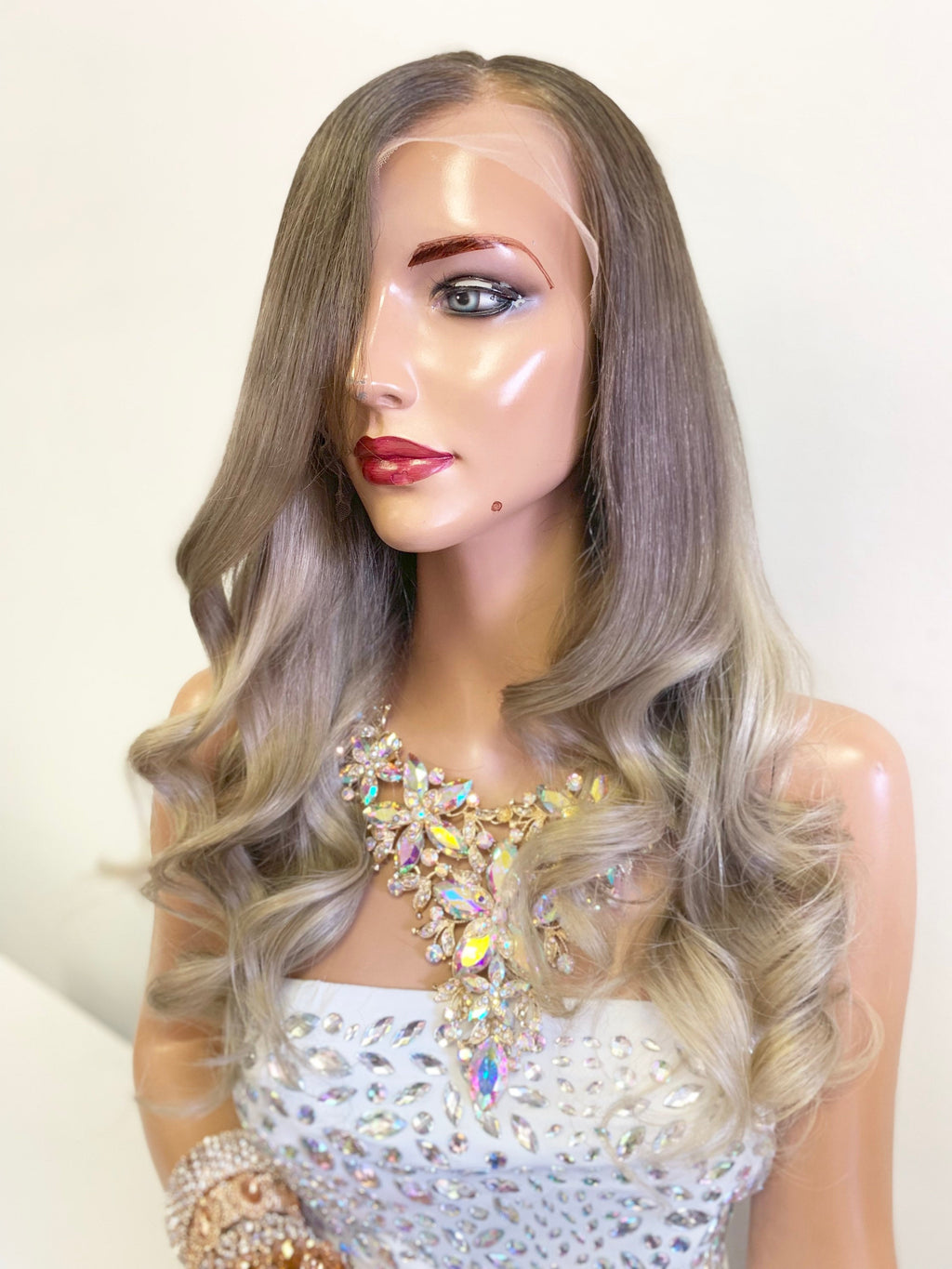 HUMAN HAIR Full lace Wig, Balayage blonde with custom color, Loose curl hair, Virgin hair, 16 inches long