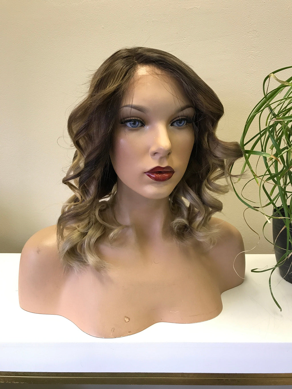 HUMAN HAIR Full lace Wig, Balayage blonde with root, Loose Curl hair, Virgin hair 180% density