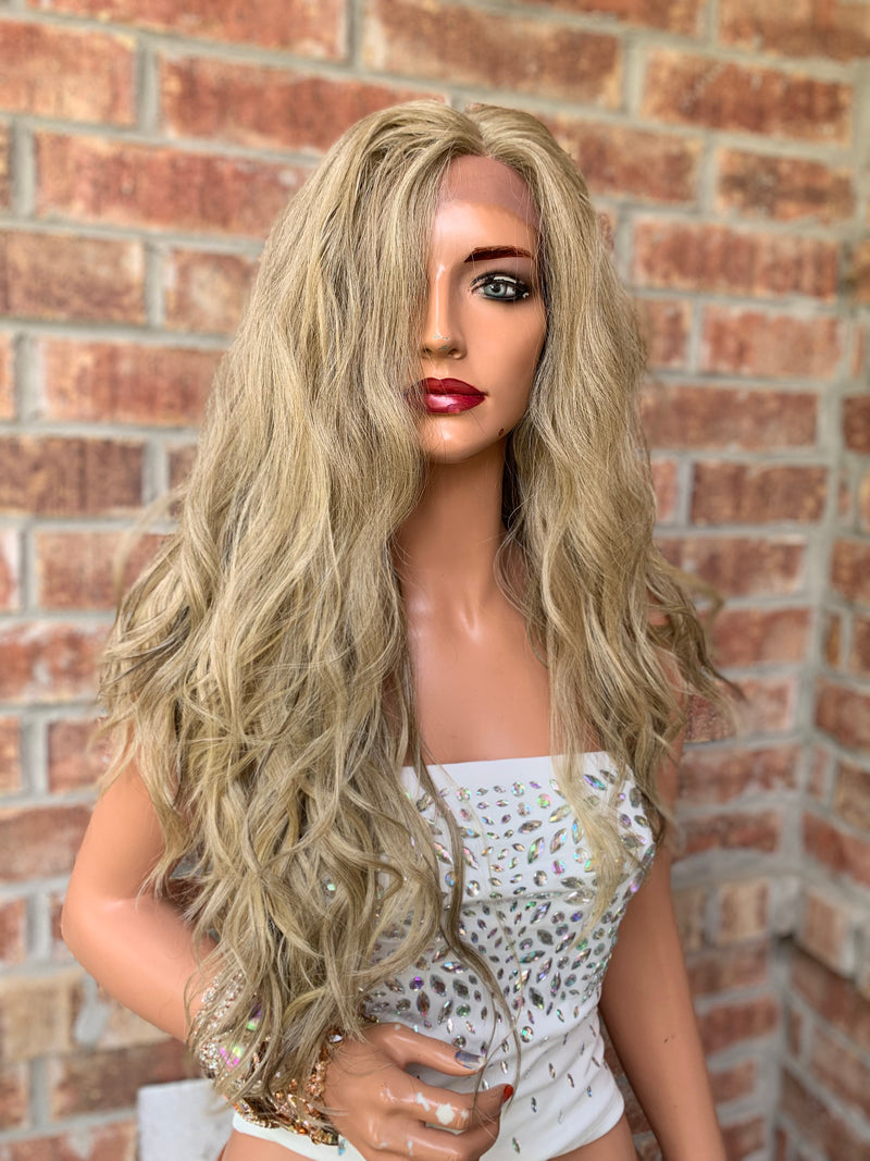 ASH BLONDE Natural Balayage blonde, Loose Waves, 22 Inches, 150% Density L A C E F R ON T W I G