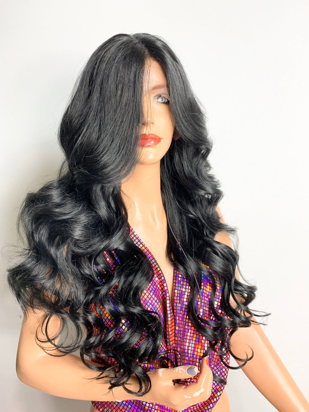 "24"" BLACK WAND CURLS. Lovely long wand curly  lace front hair wig with middle part & fringe volume! 620"