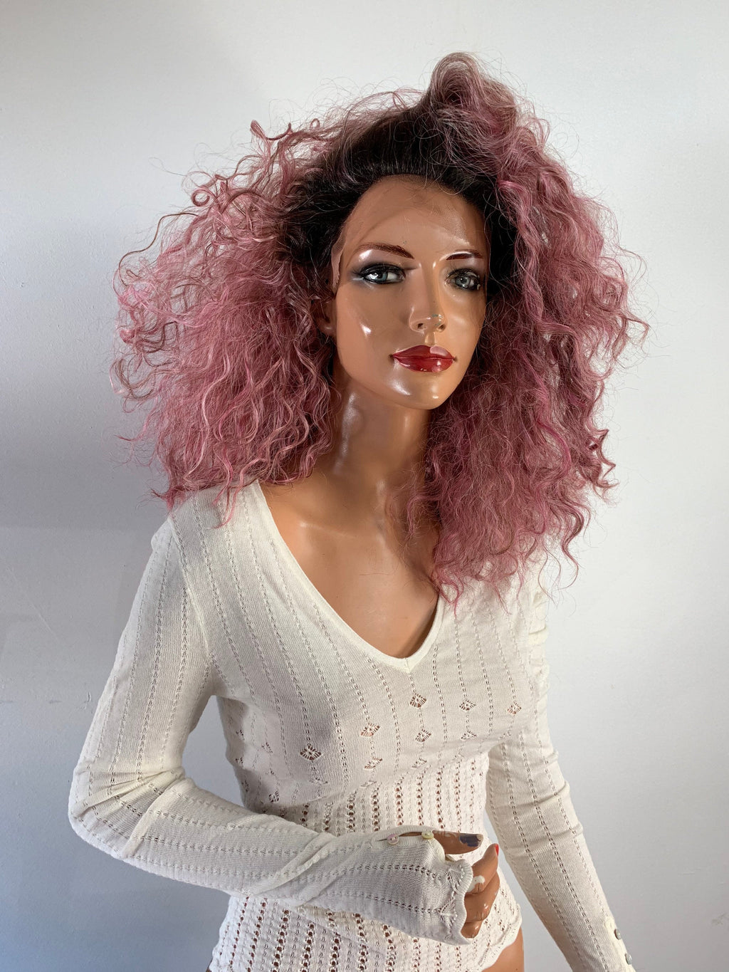 PINK AFRO. lace front wig 12""