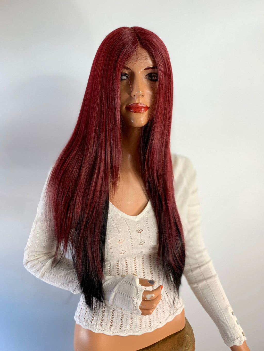 RED BURGUNDY OMBRE. straight lace front wig 22""