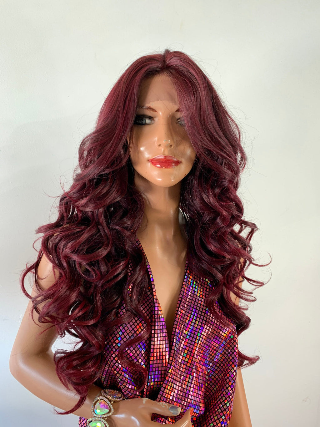 BURGUNDY WINE RED. Lovely long wavy curl lace front hair wig 24""
