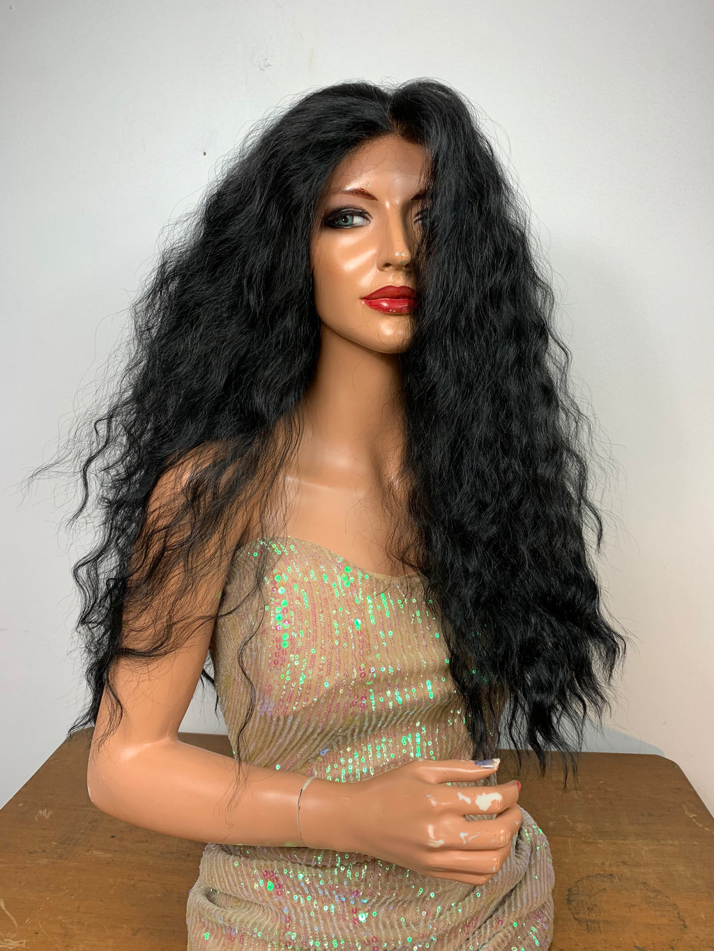 "HAWAII WAVY LONG.  18"" Off Black 1B Cute wavy long lace front hair wig #3 Frontal 13x4 Free Parting with lots 820"