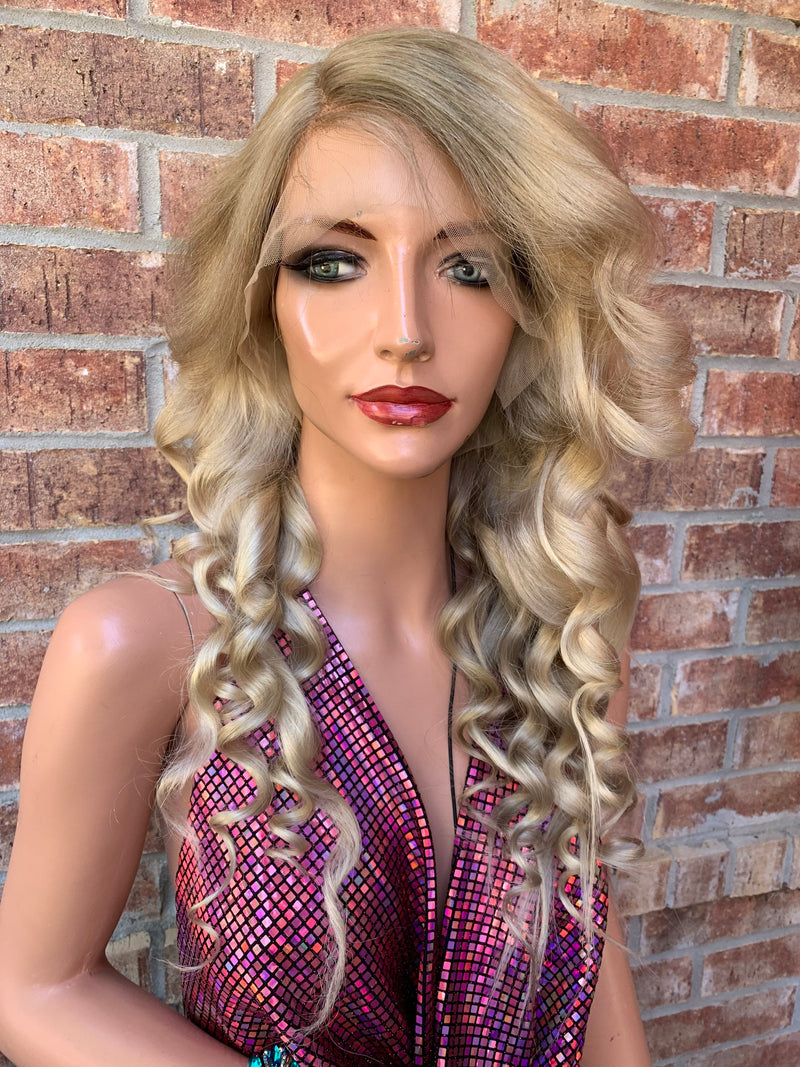 "Ash Blonde Brazilian Human Hair / 13x4 FULL LACE FRONT / multi parting wig 22"" long with natural layers + Wand Curls"