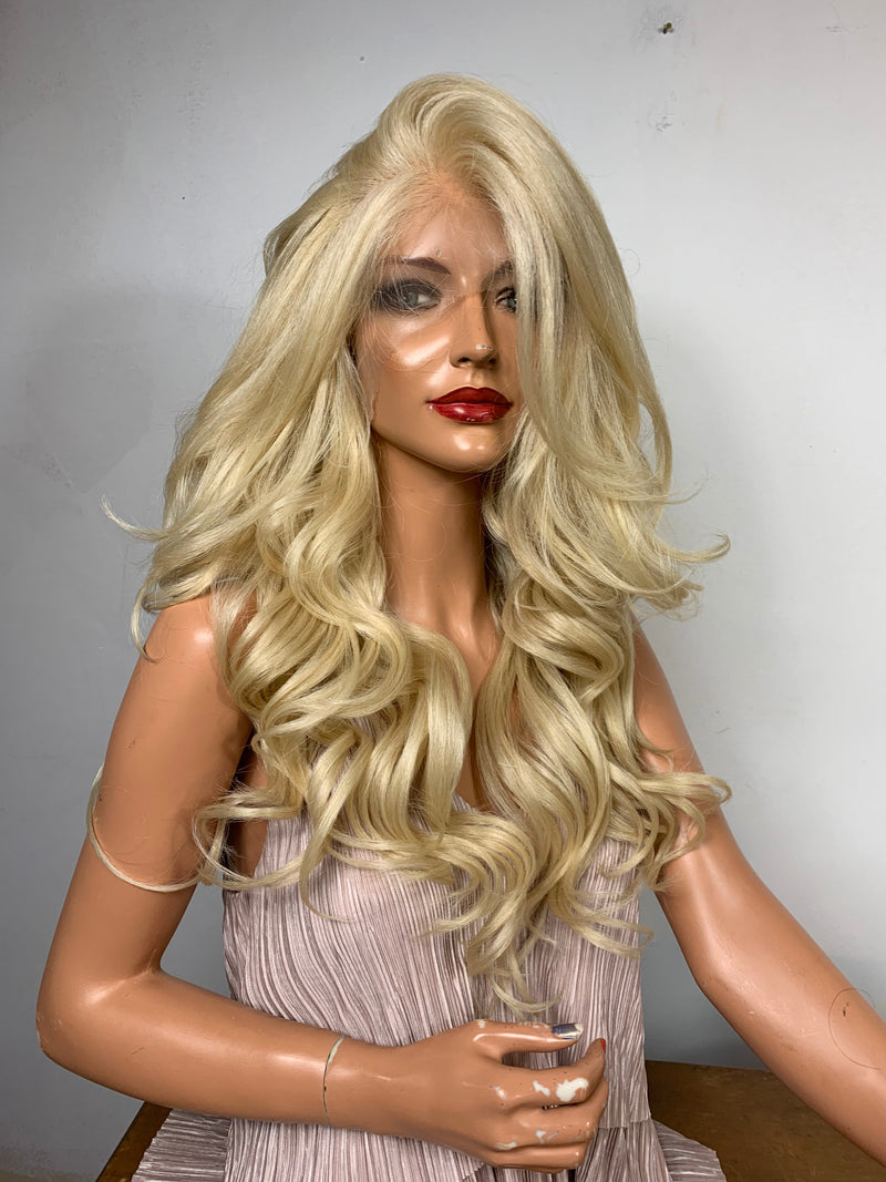"613 Platinum light blonde lace front wig 22"" 13x4 MULTI undetectable parting + Lots of Volume and Curls IN STOCK"
