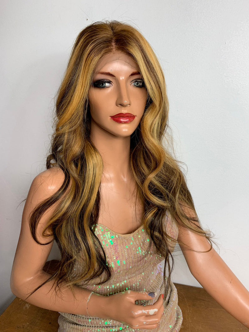 "Brazilian HUMAN HAIR* Balayage Caramel blonde lace front wig 13x4 Multi Parting 22"" long"