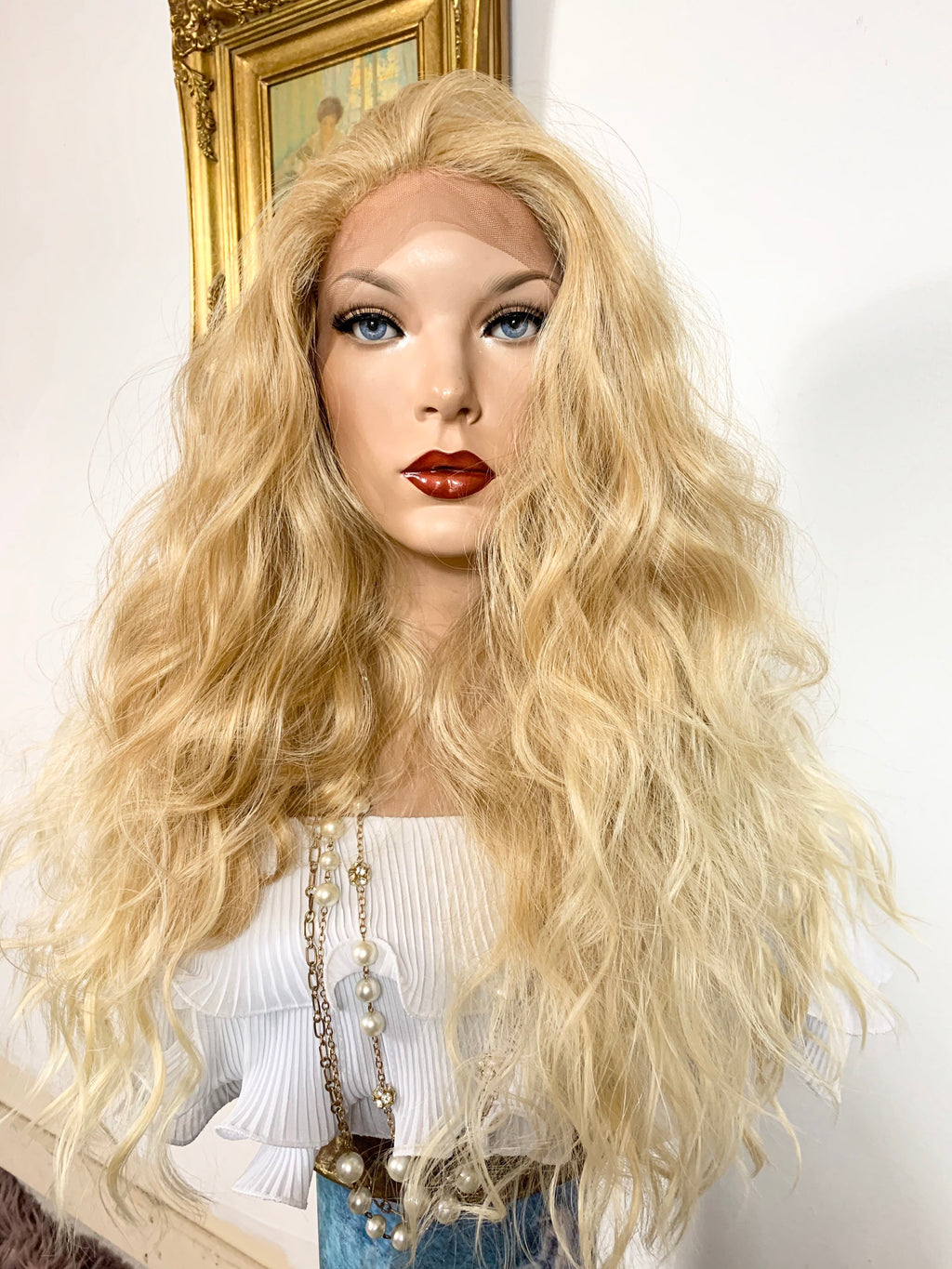 "MALIBU BLONDY. Perfect wavy hair lace front wig 22"" long Undetectable + Natural layers + Rotating parting 613/27 FABULOUS"