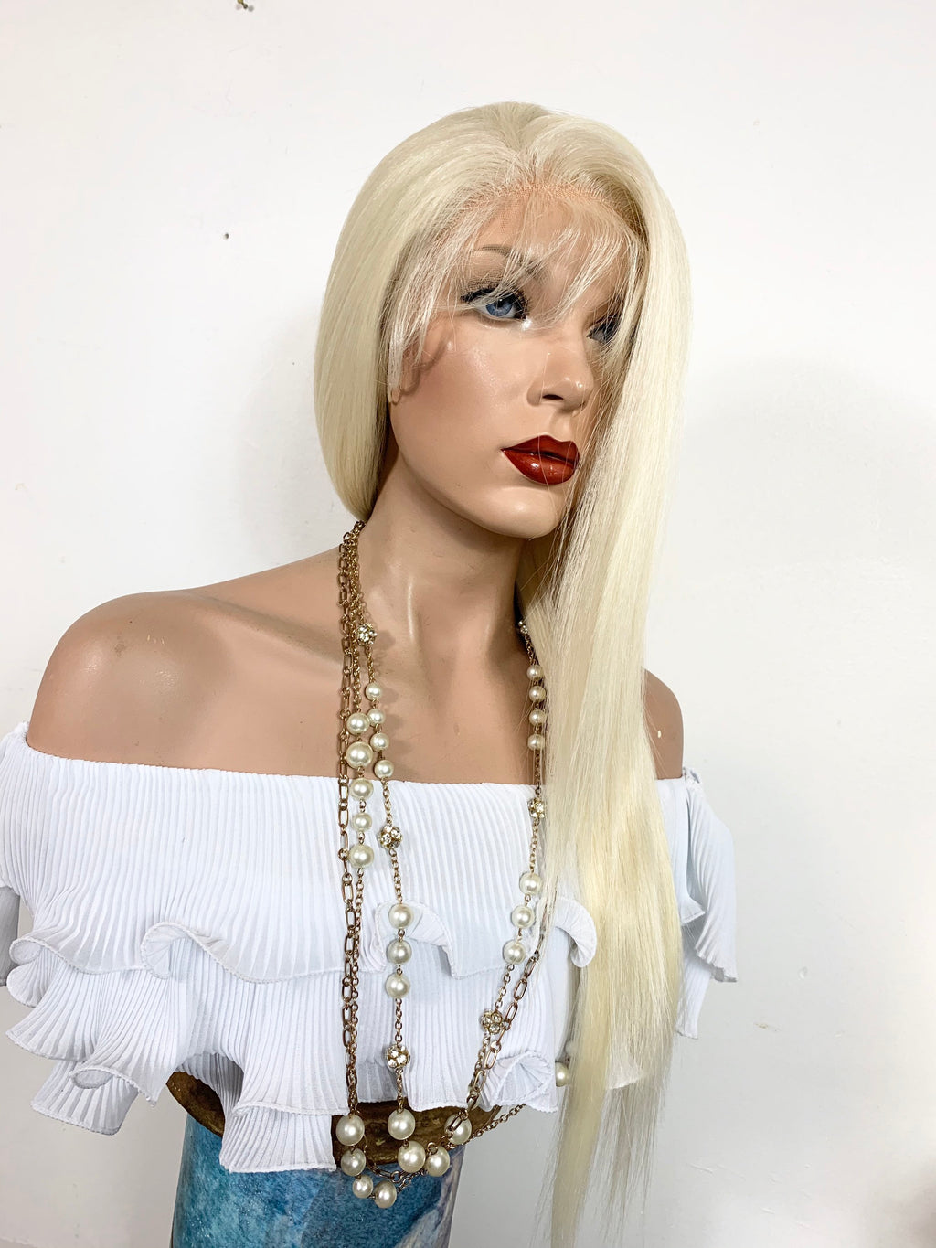 "KOI BLONDY. Perfect Straight hair lace front wig 22"" long Undetectable + Natural layers + 13x6 Frontal Parting Color # 613 FABULOUS"