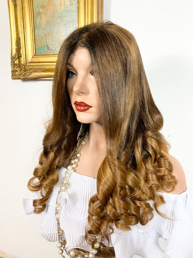 "BEAUTIFUL MARISOL. Human Hair* Balayage Auburn blonde Full lace wig 13x4 Multi Parting 24"" long 920 FABULOUS # 42"