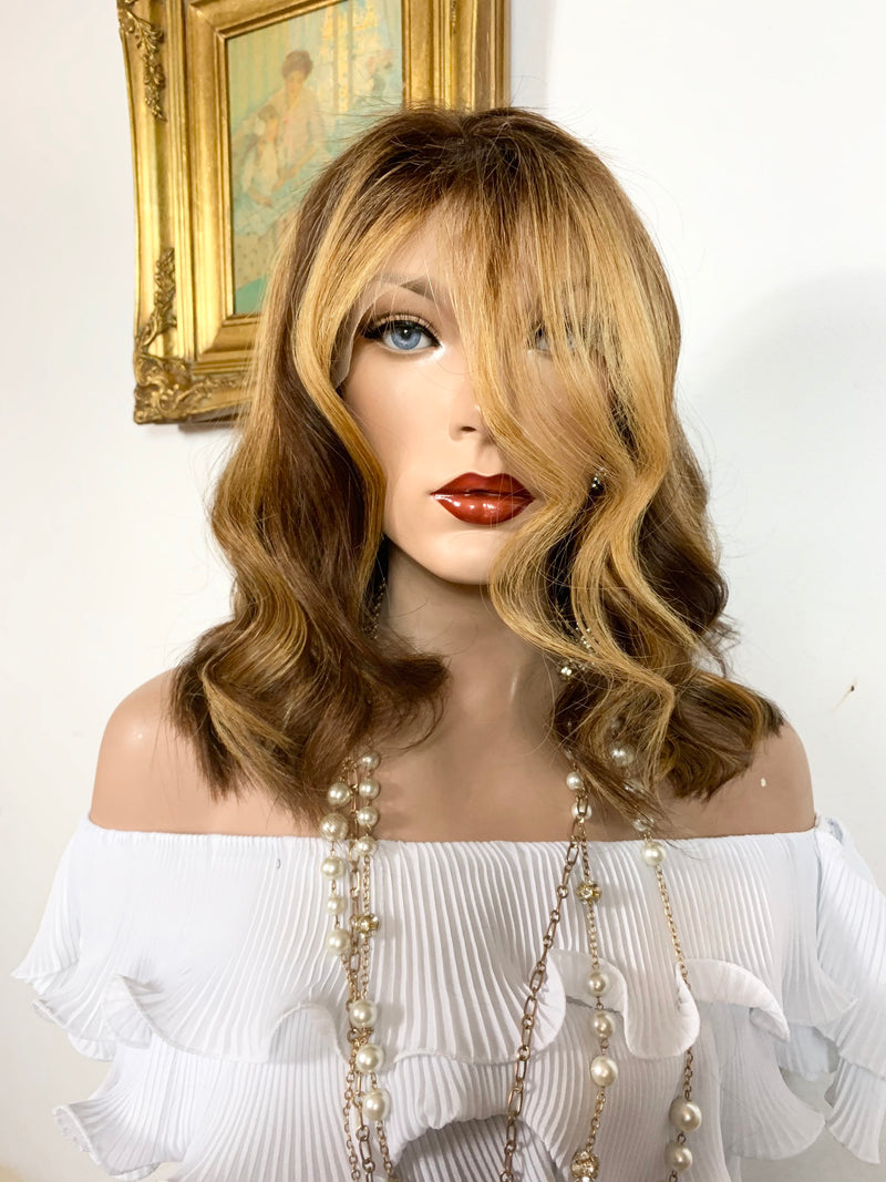 "GORGEOUS GUADALUPE. Human Hair* Balayage Auburn blonde Full lace wig 13x4 Multi Parting 10"" long 920 FABULOUS # 43"
